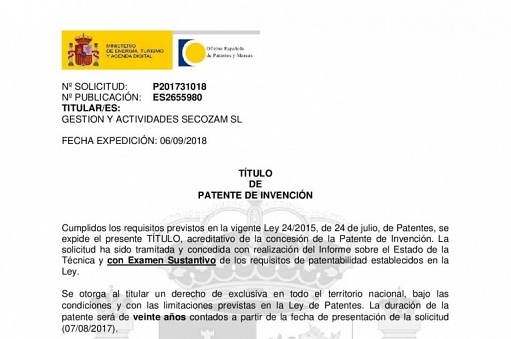 TecoZam Group obtains its first patent through its subsidiary SecoZam.