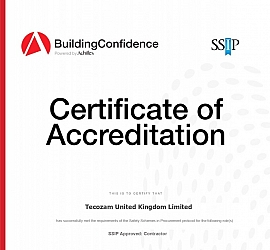 TECOZAM UK HAS BEEN AWARDED THE BUILDING CONFIDENCE SSIP BY ACHILLES