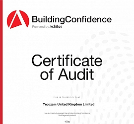 Tecozam United Kingdom has been awarded the Building Confidence Certificate